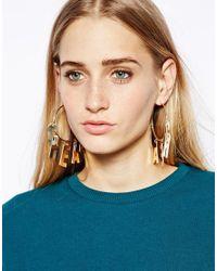 Cheap Monday | Metallic Letter Hoop Earrings | Lyst