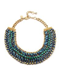 Sequin | Woven Light Blue and Green Necklace | Lyst