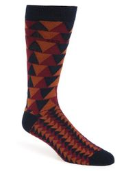 Ted Baker | Orange 'katzon' Geometric Pattern Organic Cotton Blend Socks for Men | Lyst