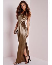 Missguided | Natural Silky Low Back Maxi Dress Copper | Lyst