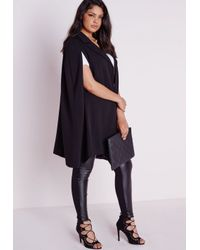6c06639b8f8 Missguided Plus Size Cape Blazer Crepe Black in Black - Lyst