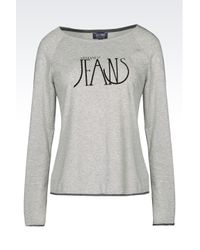 Armani Jeans | Gray T-shirt In Cotton Blend Jersey | Lyst