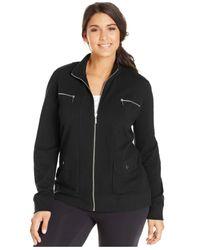 Style & Co. | Black Sport Plus Size Zip-pocket Sweatshirt Jacket | Lyst