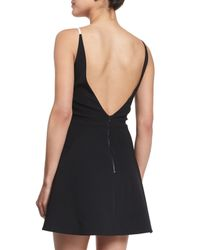 David Koma - Black Bicolor Crepe Fit-and-flare Dress - Lyst