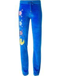 Philipp Plein | Blue 'vegas' Embroidered Emoji Velvet Track Trousers | Lyst