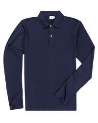 Sunspel | Blue Men's Long-staple Cotton Long Sleeve Jersey Polo Shirt for Men | Lyst