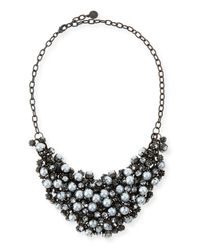 R.j. Graziano | Gray Pearly Crystal Mesh Bib Necklace | Lyst