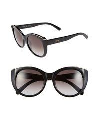 Chloé - Black 'dalia' 55mm Cat Eye Sunglasses - Lyst