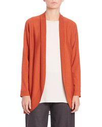 Eileen Fisher - Orange Wool Jersey Oval Cardigan - Lyst