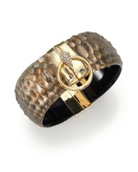 Alexis Bittar | Metallic Lakana Lucite & Crystal Crocodile-Embossed Liquid Ring Bangle Bracelet | Lyst
