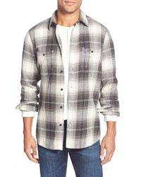 Wallin & Bros. Gray Trim Fit Flannel Shirt for men