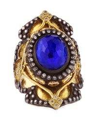 Armenta - Blue 18k Gold Midnight Heraldry Shield Ring With Lapis And Diamonds for Men - Lyst