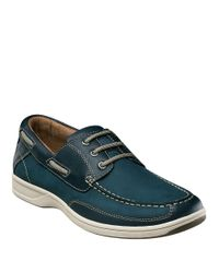 Florsheim - Blue Lakeside Leather Oxford Boat Shoes for Men - Lyst