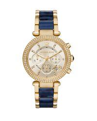 Michael Kors - Blue Parker Pavé Goldtone Stainless Steel & Acetate Chronograph Bracelet Watch - Lyst