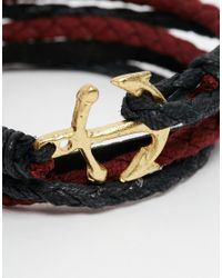 ASOS - Red Anchor Wrap Leather Bracelet In Burgundy for Men - Lyst