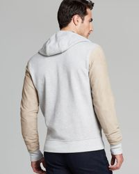 Michael Kors | Gray Suedesleeve Zip Hoodie for Men | Lyst