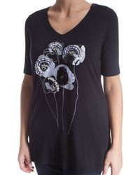 Elena Miro - Black Plus Size T-shirt With Settings And Appliques - Lyst