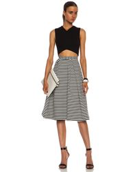 Nicholas - Black Stripped Ponti Ball Poly Blend Skirt - Lyst