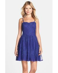 06f3e578 Lyst - Hailey by Adrianna Papell Embroidered Mesh Fit & Flare Dress ...