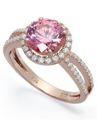 Macy's - Gray Pink Cubic Zirconia Ring In 14k Rose Gold Over Sterling Silver - Lyst