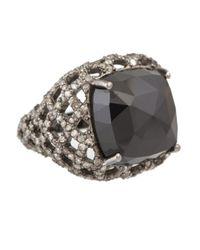 Bavna | Sterling Silver Signet Ring With Faceted Black Spinel & Pave Diamonds | Lyst
