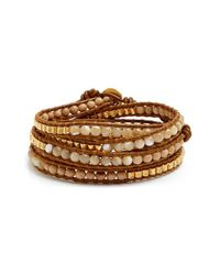 Chan Luu - Brown Beaded Leather Wrap Bracelet - Lyst