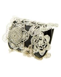 Colette Malouf | Metallic Leather Crochet Flower Bracelet | Lyst
