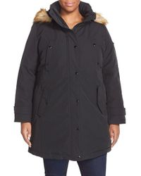 MICHAEL Michael Kors | Black 'expedition' Faux Fur Trim Down & Feather Fill Parka | Lyst