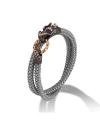John Hardy - Metallic Men's Naga Double Wrap Dragon Cord Bracelet for Men - Lyst
