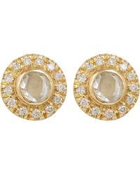 Zoe - Metallic Women's White Diamond Circular Studs - Lyst