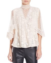 Free People | Natural Mesh-Accented Top | Lyst