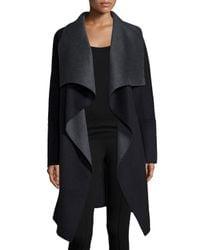 Diane von Furstenberg | Black Marilyn Two-tone Wool-blend Wrap Coat | Lyst