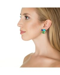 Bounkit | Green Chrysoprase, Turquoise, Lapis, And Clear Quartz Earrings | Lyst