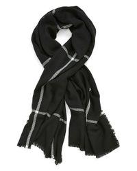 Halogen - Black Windowpane Plaid Blanket Wrap - Lyst