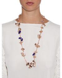 Aurelie Bidermann - Pink Ginkgo Lacquered Rose-gold Plated Necklace - Lyst
