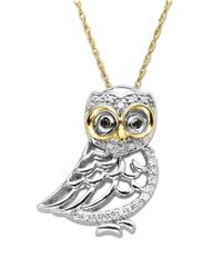 Lord & Taylor | Metallic Diamond Owl Pendant In Sterling Silver With 14k Yellow Gold | Lyst