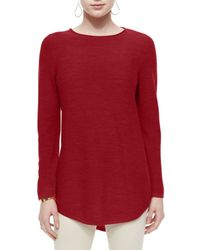 Eileen Fisher - Red Long-sleeve Merino Wool Tunic - Lyst