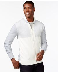 Sean John | Gray Jacquard Zip-up Cardigan for Men | Lyst