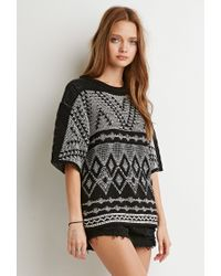 Forever 21 | Black Marled Diamond-patterned Sweater | Lyst