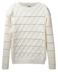 KENZO - White Geometric Knit Sweater for Men - Lyst