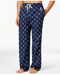Psycho Bunny - Blue Sleepwear Woven Diagonal Dot Pajama Pants for Men - Lyst