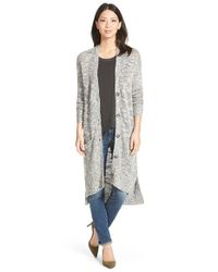 Caslon | Gray Long Slub V-neck Cardigan | Lyst