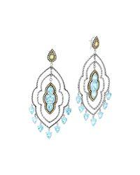 John Hardy | Blue Batu Dot Morocco Gold & Silver Chandelier Earrings | Lyst
