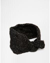 ASOS - Black Chunky Tie Front Headband - Lyst