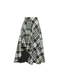 Alexander McQueen - Green Asymmetric Check Wool Skirt - Lyst