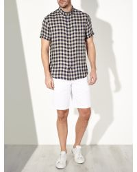 John Lewis - Black Gingham Linen Short Sleeve Shirt for Men - Lyst