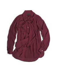 COACH - Red Silk Long Sleeve Pretty Blouse - Lyst
