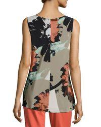 Lafayette 148 New York - Gray Portman Floral-print Sleeveless Top - Lyst