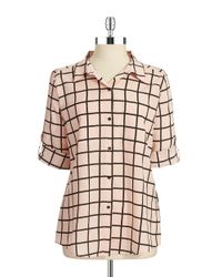 Calvin Klein | Pink Windowpane Blouse | Lyst