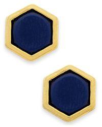 Lauren by Ralph Lauren | Gold-Tone Catalina Blue Hexagon Stud Earrings | Lyst